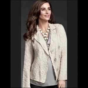CAbi Chenille Double Breasted Blazer Jacket